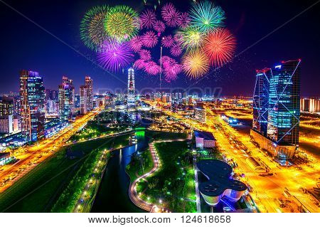 Firework festival at Central Park in Incheon South Korea. Central Park is the green space planinspired by NYC.