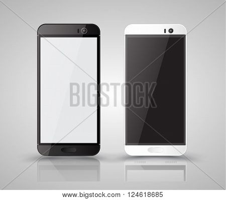 New realistic mobile phone smartphone collection iphon style mockups with blank screen isolated on white background. Vector illustration. for printing and web element, Game and application mockup.
