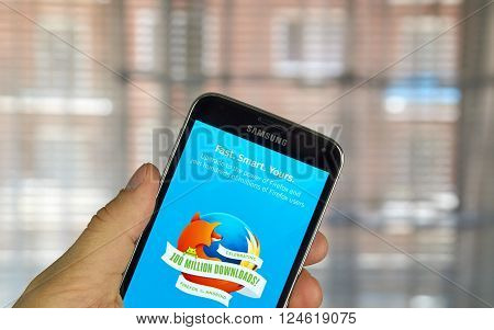 MONTREAL CANADA - MARCH 20 2016 - Firefox browser application on android cell smartphone. Firefox is a free and open-source web browser developed by the Mozilla Foundation.