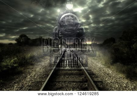 Old steam locomotive seems like a ghost train. Art design.