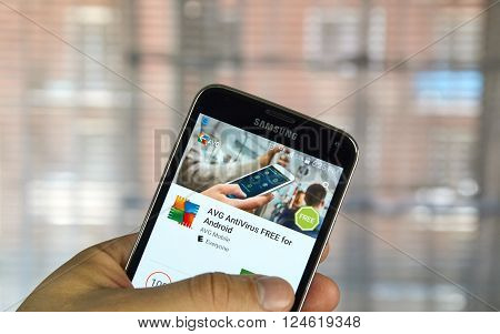 MONTREAL CANADA - APRIL 5 2016 : AVG antivirus on Android cell phone. AVG is one of the popular antivirus PC and mobile software.