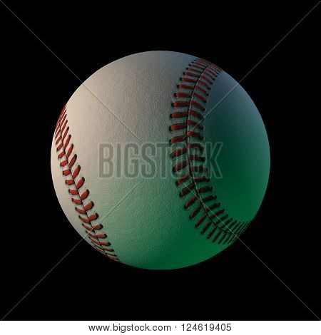 3d cgi computer rendered baseball on a black background