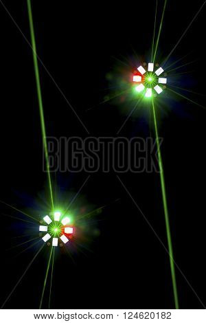 Two  Brightly Coloured Disco Lights