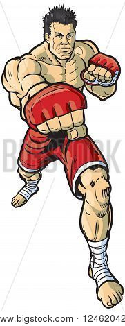 A vector cartoon clip art illustration of an mma fighter throwing a right cross punch toward the viewer.