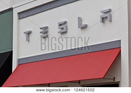 Indianapolis - Circa April 2016: Tesla Motors Store. Tesla is a Technology and Design Company VI