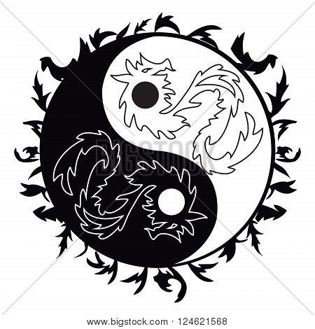 Yin yang symbol asian decoration element Pattern on white Background. Yin Yang tattoo with dragons for design illustration