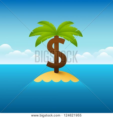 Vector illustration about Panama papers situation. Palm tree in shape of a dollar sign.
