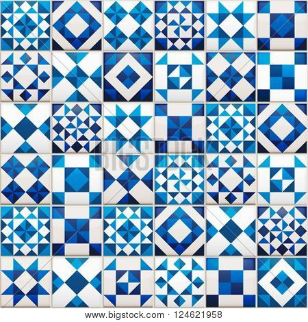 Vector realistic ceramic texture made of blue, navy and white pieces. Portugal style seamless pattern.
