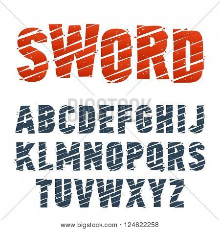 Vector font cuted by samurai sword. Stylish dynamic typeface. Latin alphabet from A to Z.