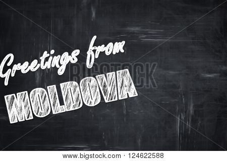 Chalkboard background with white letters: Chalkboard background with white letters: Greetings from moldova card with some soft highlights