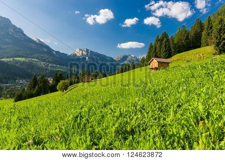 Idyllic Mountain Landscape in the Dolomites of Fassa Valley