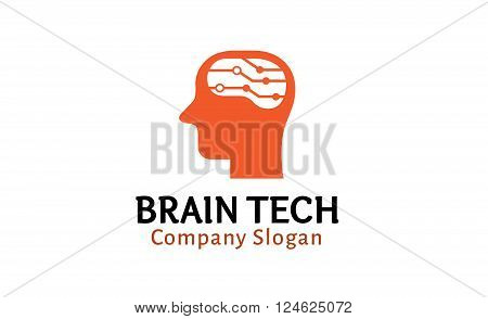 Brain Tech Creative And Symbolic Logo Design Illustration