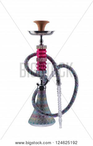 Colorful rhinestone full covered hookah, bedazzler completely covered with a transparent, plastic mouthpiece. Strass on hookah. Eastern smokable water pipe smoking on white background.