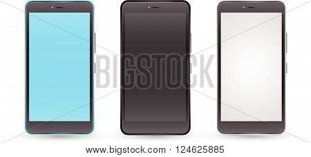 Mockup smartphones set vector realistic style. Vector illustration realistic. Can use for printing and web element. app element. Modern touchscreen android phone cellphone tablet smartphone