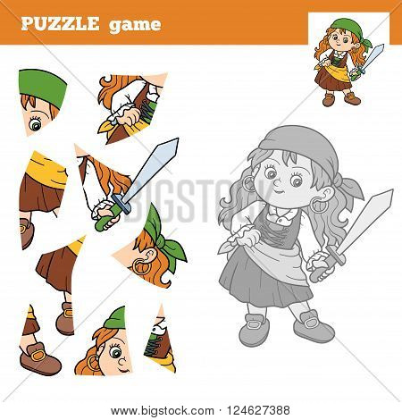 Puzzle Game For Children, Pirate Girl