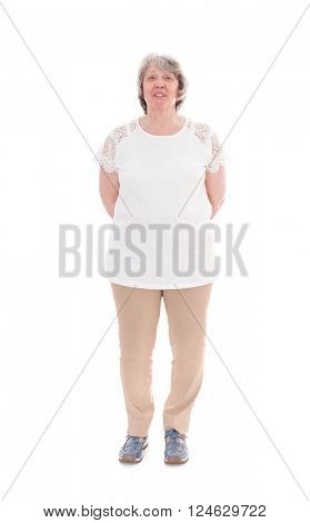 Senior woman. All on white background