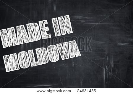 Chalkboard background with white letters: Made in moldova with some soft smooth lines