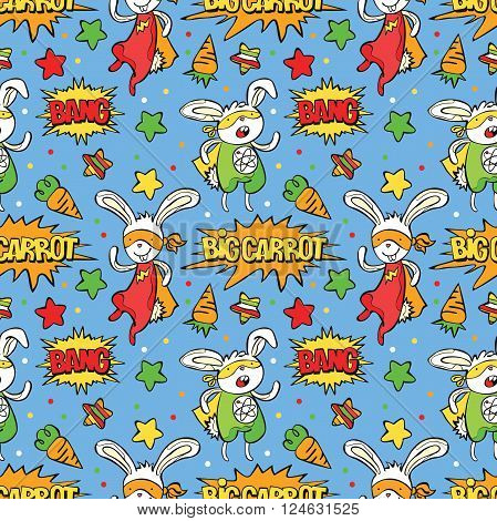 Superhero. Bunny. Carrot. Asterisk. Dialog cloud - Bang! Big carrot! Vector seamless pattern (background). Color bright picture.