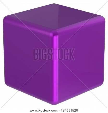 Cube purple box geometric shape block basic solid dice square brick figure simple minimalistic glossy element single shiny blank object. 3d render