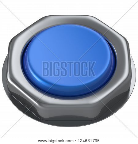 Push button blue down activate power switch start turn on off action ignition electric design element metallic shiny blank. 3d render