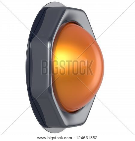 Push button orange start turn on off action activate switch ignition power electric indicator design element metallic yellow shiny blank led lamp. 3d render