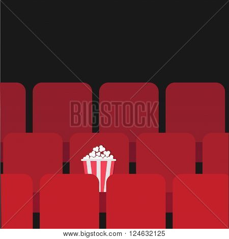 Popcorn box on red seat. Movie theater hall. Film show Cinema background. Flat design Vector illustration