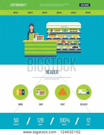 One page web design template with color line icons of supermarket shop. Supermarket interior shelf with fruits, vegetables, milk, honey, drinks, preserves. Healthy eating and eco food.