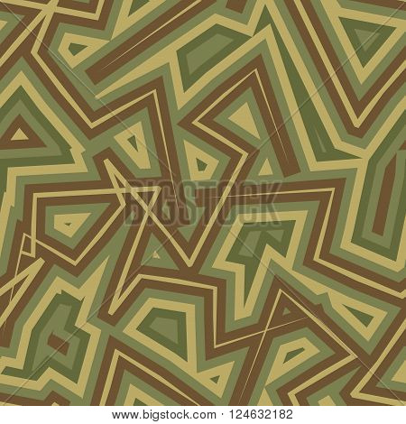Abstract Geometric Military Camouflage Background. Protective Seamless Pattern. Army Soldier Texture