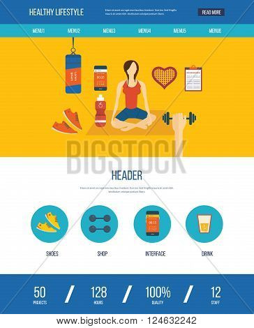 Modern flat vector icons of healthy lifestyle, fitness and physical activity. Yoga classes. Wellness icons for website and mobile application. One page web design template