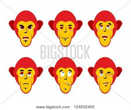 Set with emotions monkeys. Cheerful and angry monkey. Surprise and sadness chimpanzees. Sleepy monkey. Collection of emoticons primates. monkey head on white background