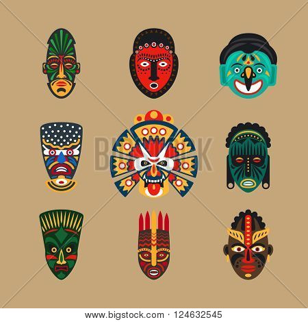 Ethnic mask icons or inca flat masks. Tribal ethnic masks vector illustration