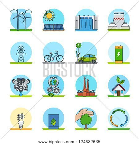Green energy color line icons. Green power types or green technologies line icons vector