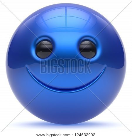 Smiley face head ball cheerful sphere emoticon blue cartoon smiling happy decoration cute. Smile funny joyful person laughing joy character toy avatar cyan. 3d render