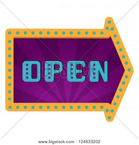 Open an arrow with neon lights. Retro label with bulbs.The opening of the store. Grand opening. Retro arrow. Flat style.