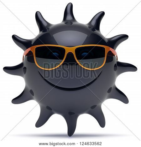 Smile sun black star face sunglasses cheerful summer smiley cartoon ball emoticon happy sunny heat joke person icon. Smiling laughing character holiday chilling sunbathing tropics avatar. 3D render