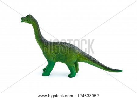 side view green brachiosaurus toy on a white background 2