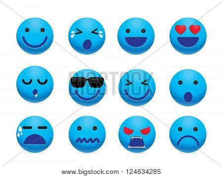 Emotion face icon set. Simple emotion icon design for chat and social media.