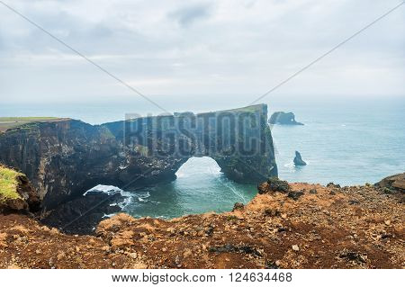 Cape Dyrholaey on the coast of the Atlantic ocean, south Iceland
