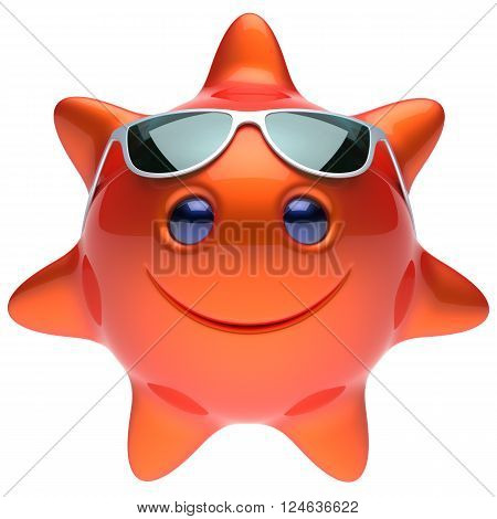Star sun smiley face sunglasses cheerful summer smile cartoon ball emoticon happy sunny heat orange red person icon. Smiling laughing character holiday chilling sunbathing sunbeam avatar. 3D render