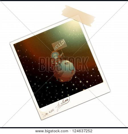 Photo frame with picture isolated over white background. Old photo with first extraterrestrial contact. Vintage photograph with the phrase We Are Not Alone. Vector illustration 10 EPS
