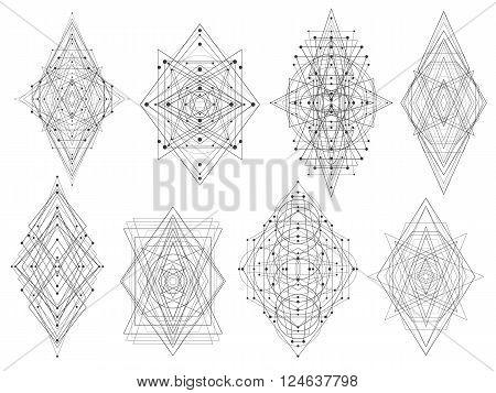 Geometric Shapes Triangles Rhombs Circles Dots