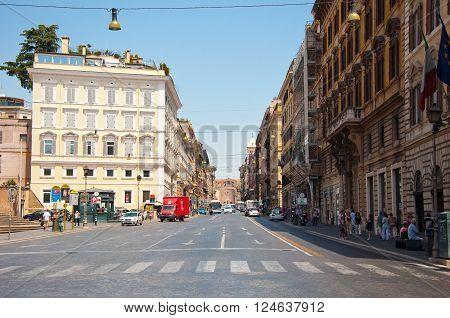 ROME-AUGUST 6: Via Nazionale on August 6 2013 in Rome Italy. Via Nazionale is a street in Rome from Piazza della Repubblica leading towards Piazza Venezia.