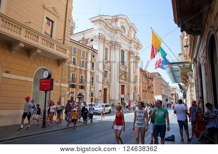 ROME-AUGUST 7: The Via del Corso on August 7 2013 in Rome. The Via del Corso commonly known as the Corso is a main street in the historical centre of Rome.