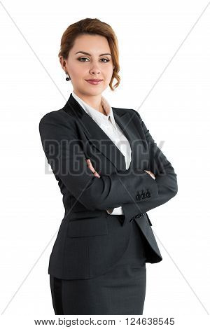 Portrait Of Smiling Business Woman With Folded Hands Isolated On White