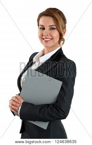 Portrait Of Smiling Business Woman Holding Gray Clipping Pad