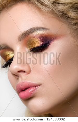 Close-up Beauty Portrait Of Young Luxorious Woman With Modern Creative Make-up