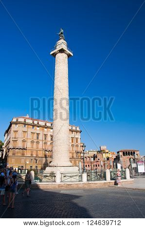 ROME-AUGUST 8: Trajan's column in Rome Italy. Trajan's Column is a Roman triumphal column in Rome Italy that commemorates Roman emperor Trajan's victory in the Dacian Wars.
