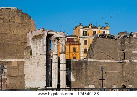 Forum of Augustus with the temple of Mars Ultor. The Imperial Fora Rome Italy.