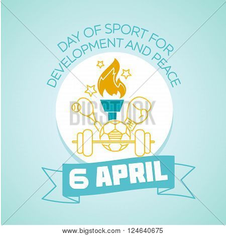 Calendar for each day on April 6. Holiday - international Day of Sport for Development and Peace. Icon in the linear style