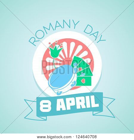 Calendar for each day on April 8. Holiday - Romany day. Icon in the flat style